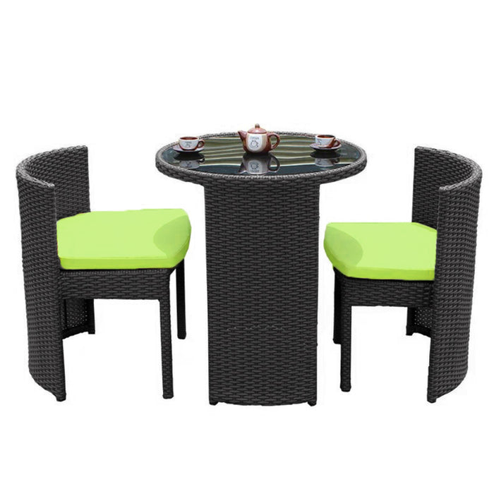 3PCS RATTAN OUTDOOR TABLE AND CHAIR SETS