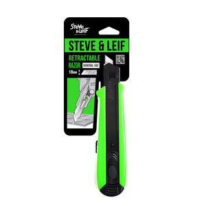 Neon Green 18Mm Penknife With Black Blade, ,Steve & Leif - greenleif.sg