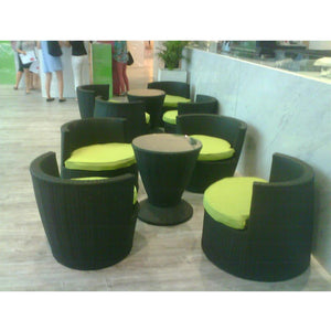 Black Rattan Outdoor/Indoor 5pcs Round Table & Chair Furniture Sets