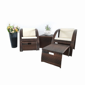 Brown Rattan Outdoor/Indoor 5pcs Square Table & Chair & Ottoman Furniture Set