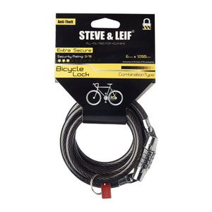 Self-Coiling Combination Lock (6mm x 1200mm), Bicycle Accessroies,Steve & Leif - greenleif.sg