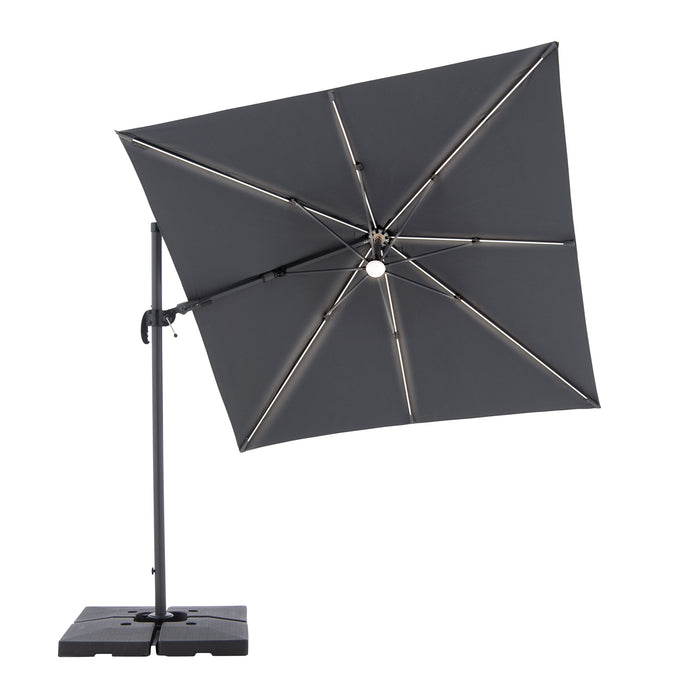 Cantilever Parasol RAVENNA AX (LED) with Base