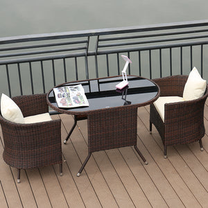Rattan Weather Proof Outdoor / Indoor 3 Pcs Long Table & Chair Furniture Set, Outdoor Furniture,Steve & Leif - greenleif.sg