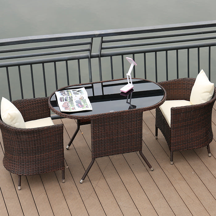 Rattan Weather Proof Outdoor / Indoor 3 Pcs Long Table & Chair Furniture Set