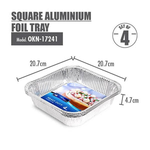 Square Aluminium Foil Tray (Sets of 4) - 207x207x47mm