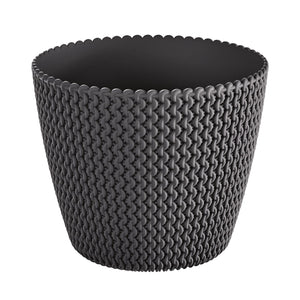 Splofy Round Basket Wave Pot (187x158mm) - Charcoal, ,Prosperplast - greenleif.sg