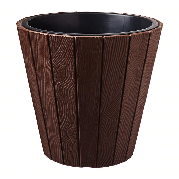 Woode Wood Grain Pot (299x281mm) - Dark Brown