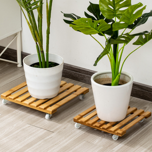 Steve & Leif Square Bamboo Plant Trolley 25cm
