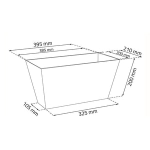 Tubus Case Effect Rectangular Pot (400mm x 216mm x 200mm)