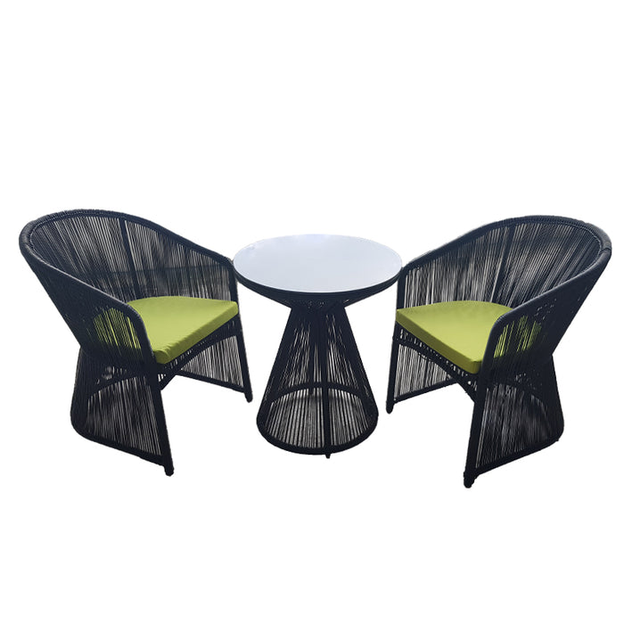 3PCS LINEAR OUTDOOR TABLE AND CHAIR SETS