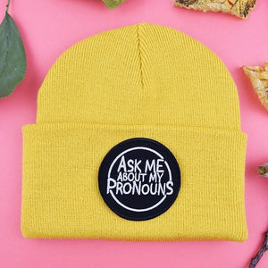 Ask Me About My Pronouns Patch Mustard Beanie | Luna