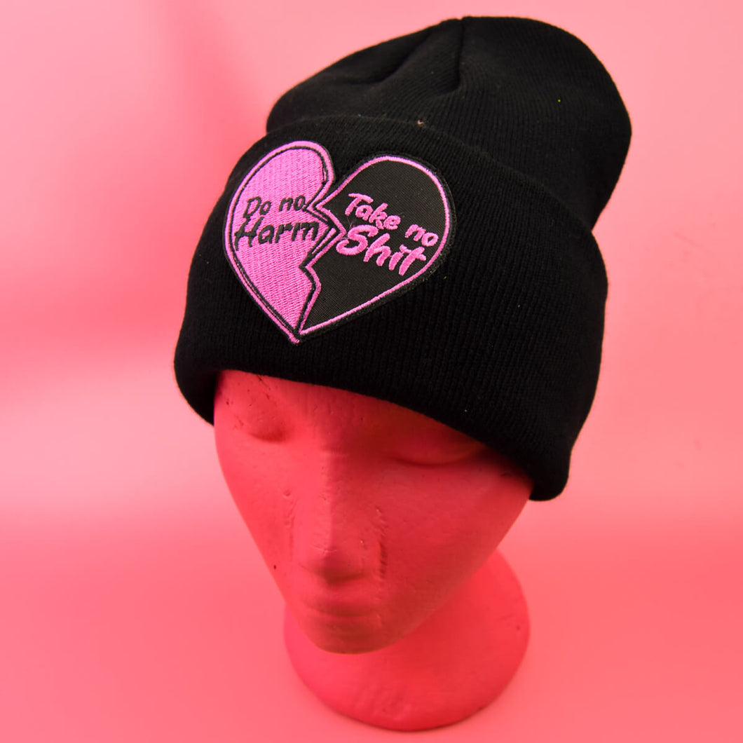 Do No Harm Take No Shit Patch Black Beanie | Luna