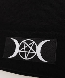 Pentagram & Moons Patch Black Beanie