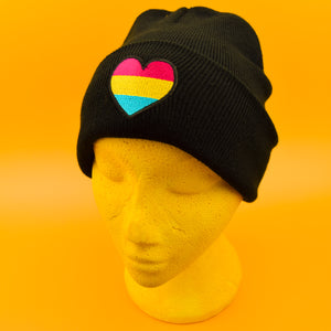 Pansexual Heart Patch Black Beanie | Luna