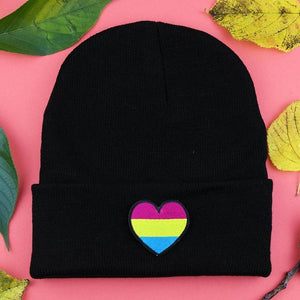 Pansexual Heart Patch Black Beanie
