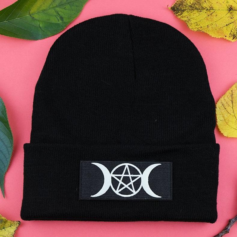 Pentagram and Moons Patch Black Beanie | Luna
