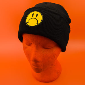 Sad Face Patch Black Beanie | Luna