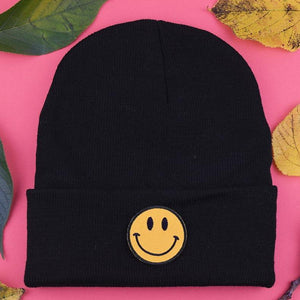 Smiley Patch Black Beanie | Luna