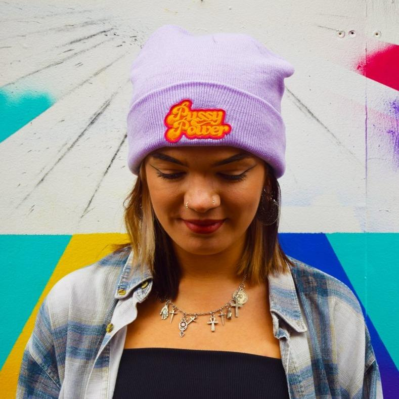 Pussy Power Patch Lilac Beanie - Luna