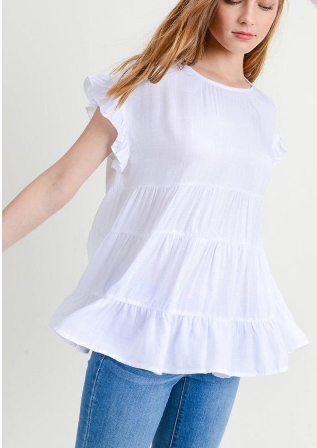 Ruffle Blouse - White
