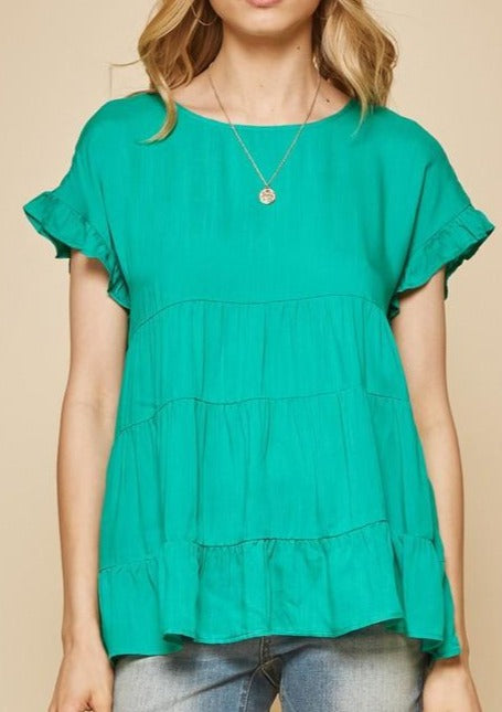 Ruffle Blouse - Emerald