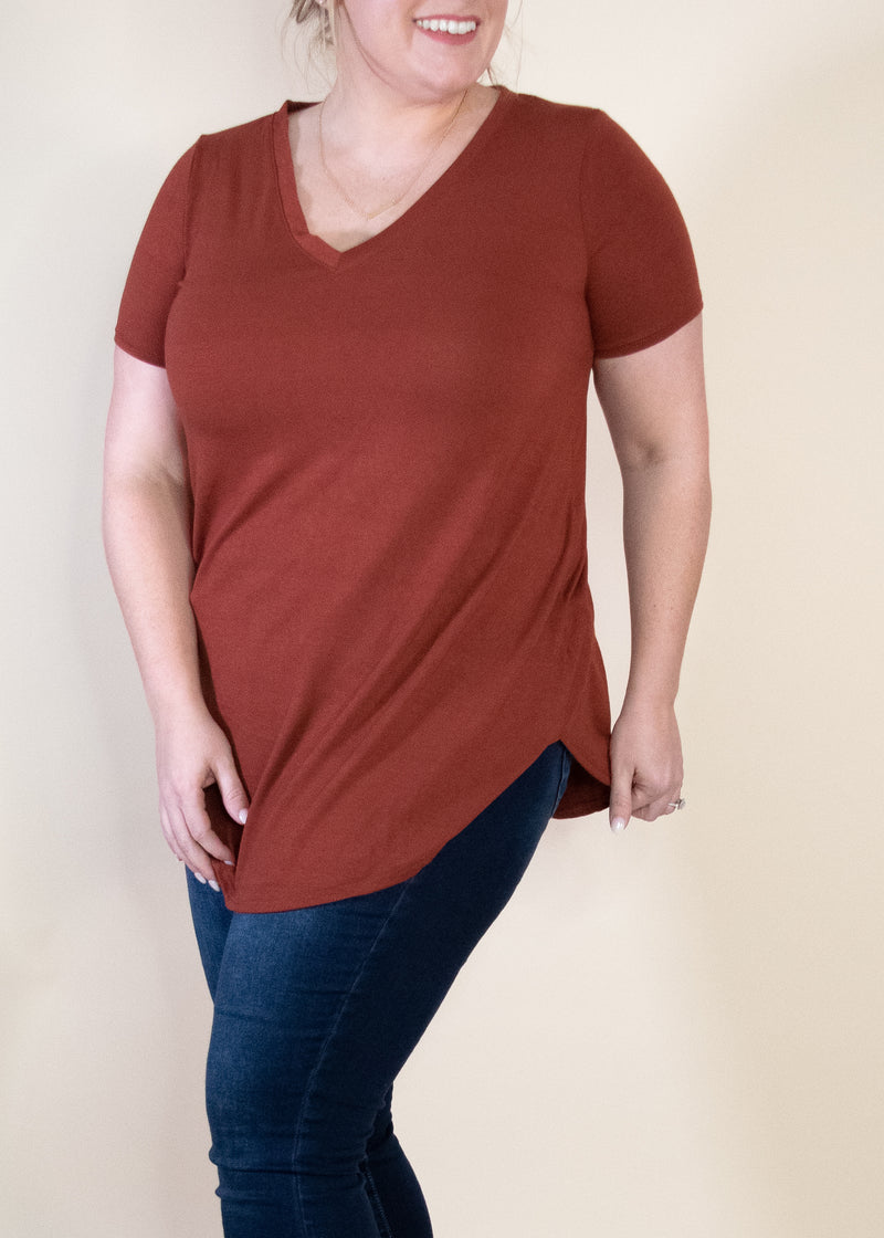 Any Day V-neck Tee - Rust
