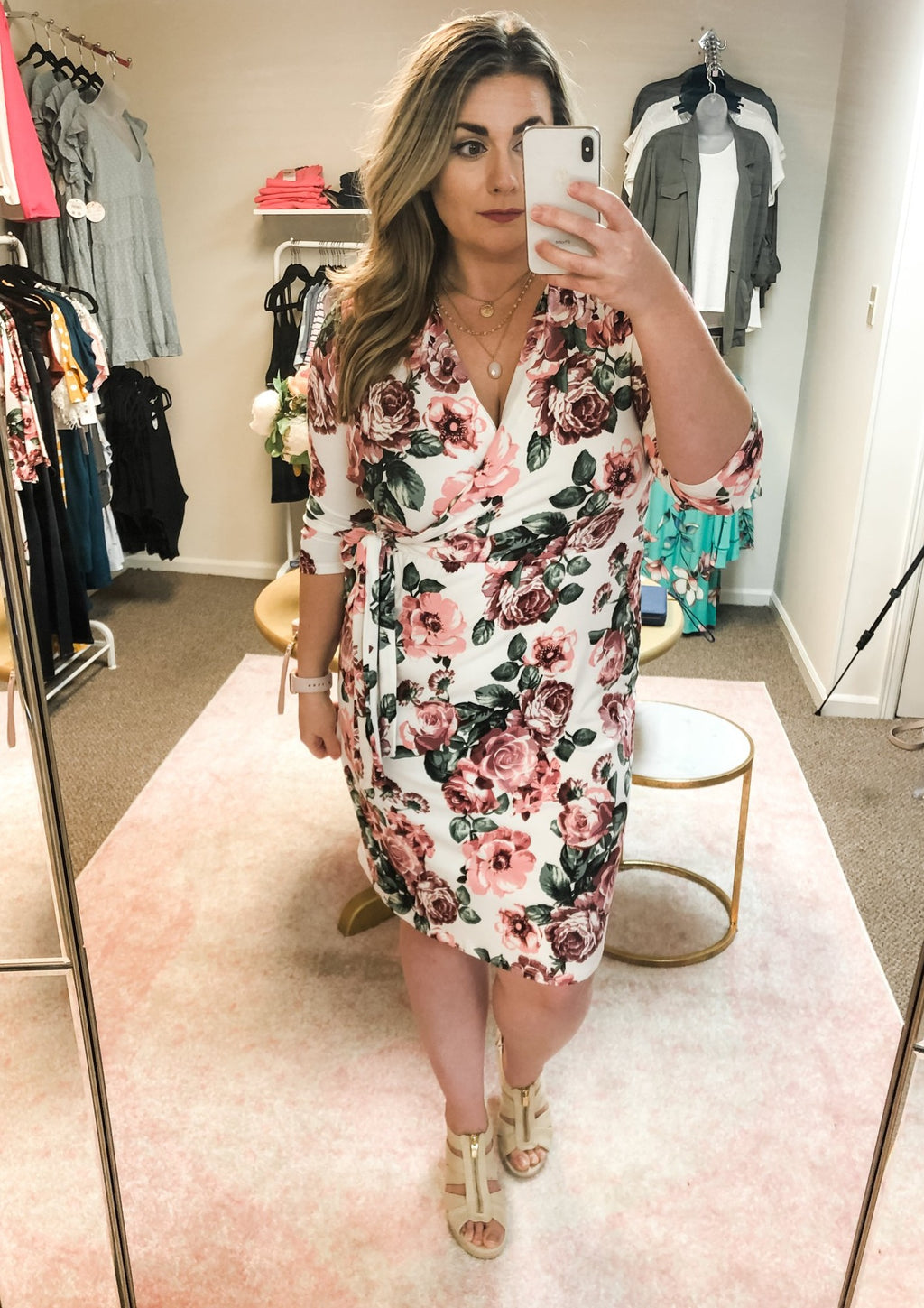 IVORY FLORAL WRAP DRESS