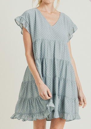 Swiss Dot Dress - Blue Grey