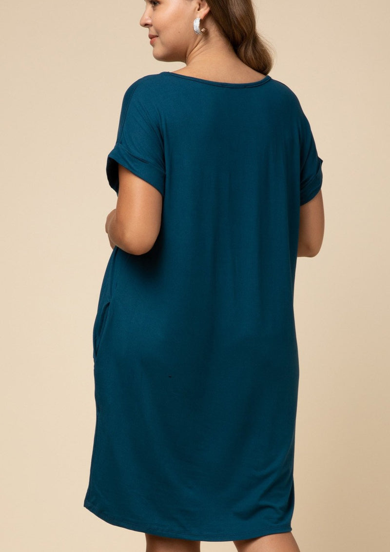 Solid V-Neck Dress (Teal)