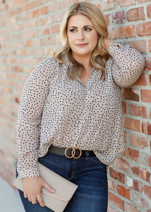 Polka Dot Blouse - Tan