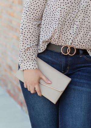 BEVERLY ENVELOPE CLUTCH - GREY
