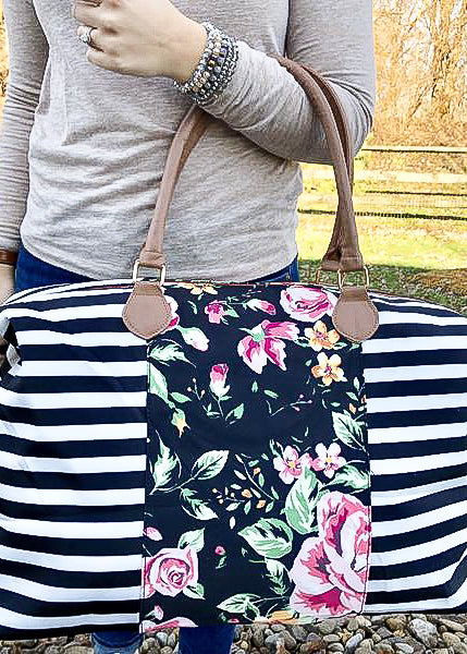 THE WEEKENDER TOTE - STRIPE/FLORAL