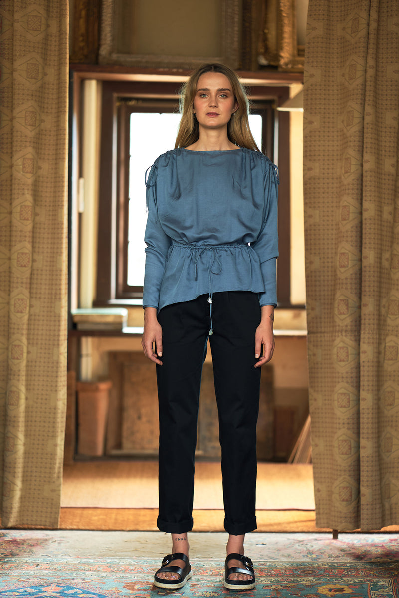 Gathered Shoulder Blouse - autark