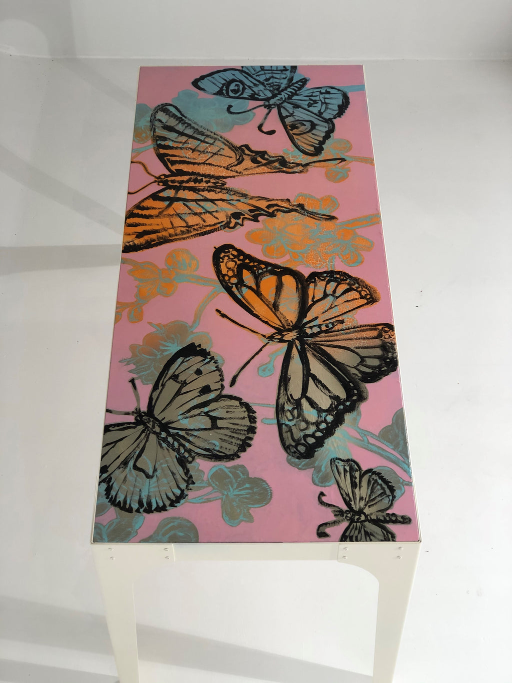 144. Hand painted 'Pink Butterflies' Tall Island/Bar Table