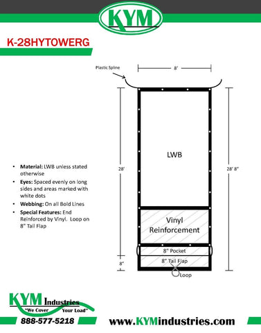"Hy-Tower Style LWB Straight Cut Tarp with Tail Flap and Plastic Spline 8' X 28'8"" - kym-industries"