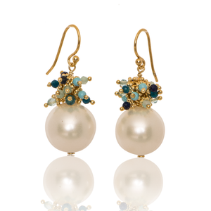 Shell Pearl Earrings with a mixed Blue Top