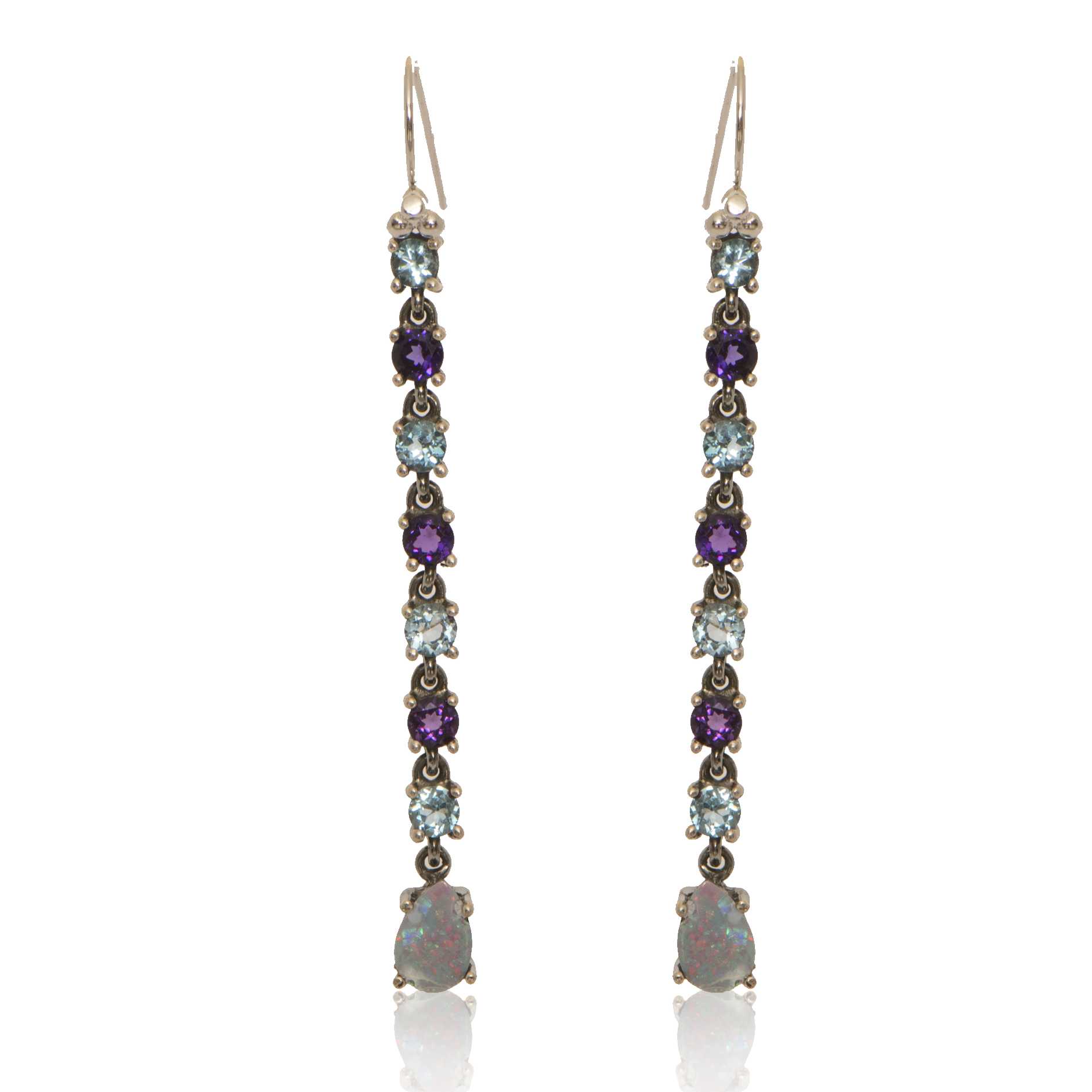 Linear Drops with Amethyst + Blue Topaz + Opal