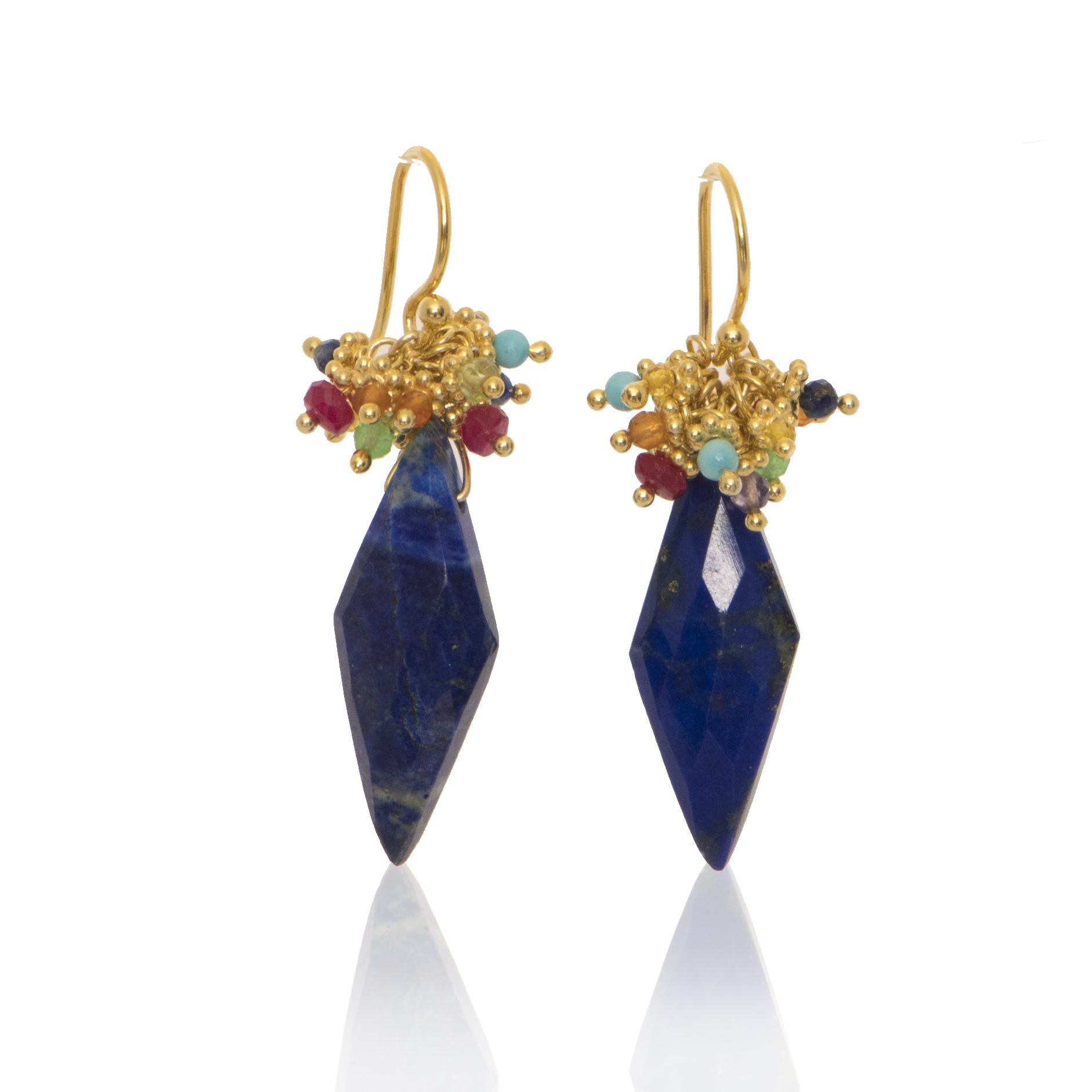 Lapis Kite Earring with Rainbow Top
