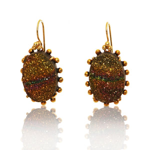 Rainbow Druzy Oval Earring