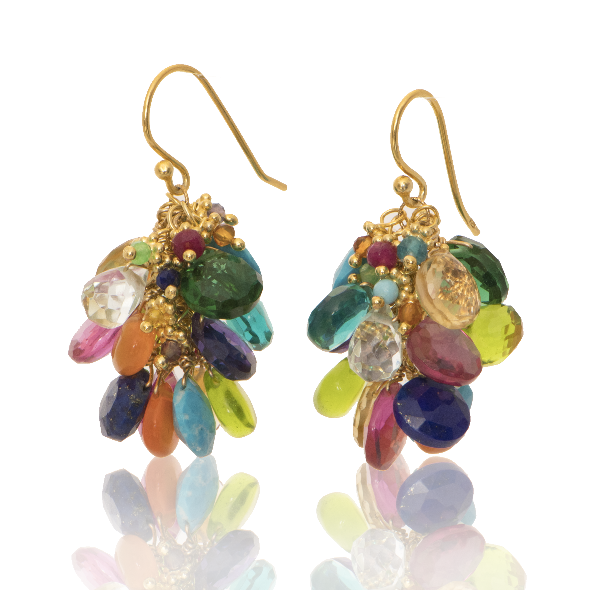 Party In Your Ears-Rainbow (Assortment of multi colored semi precious stones)