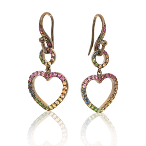 Heart Earrings with Rainbow Sapphires