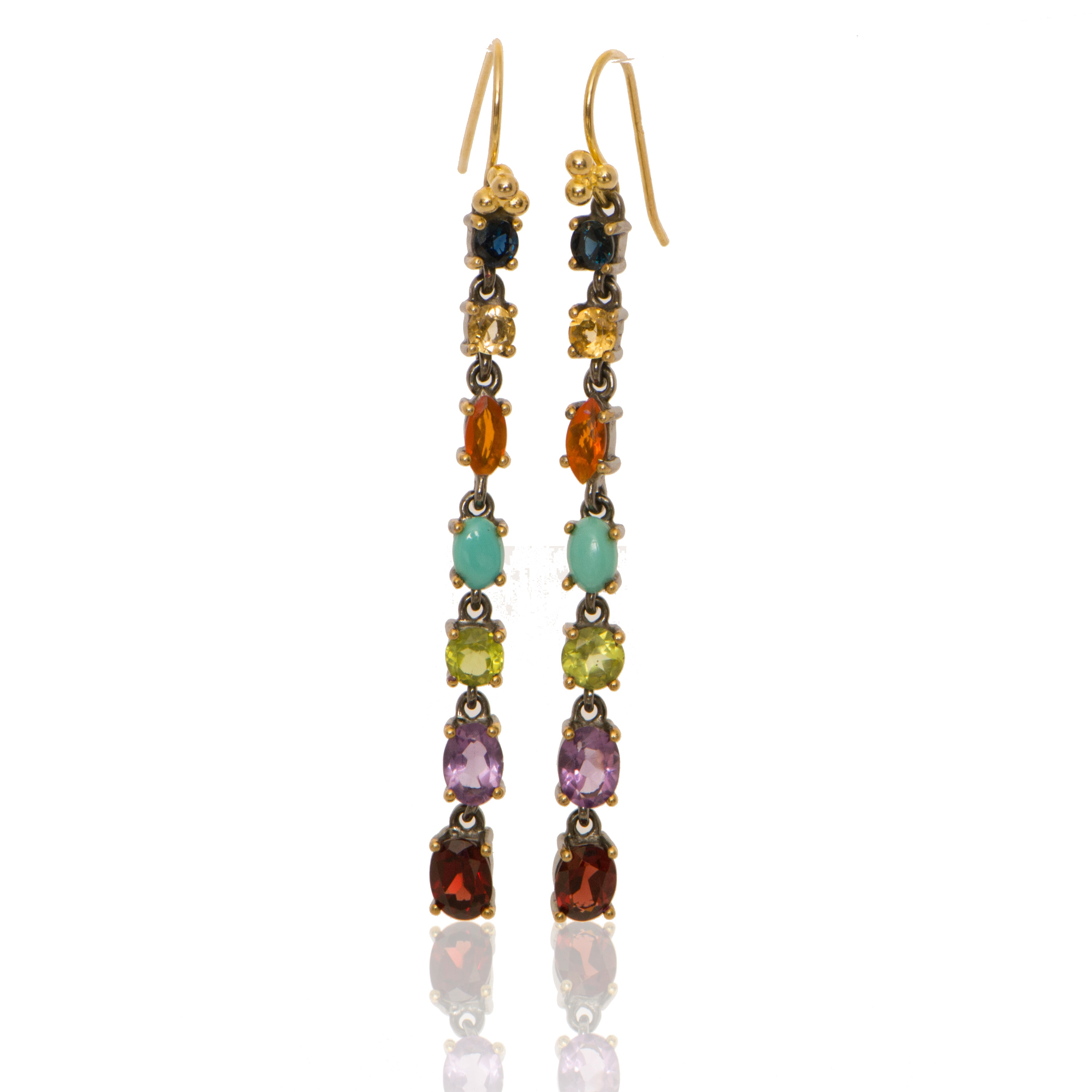Linear Drops with Sapphire + Citrine + Fire Opal + Turquoise + Peridot + Amethyst +Garnet