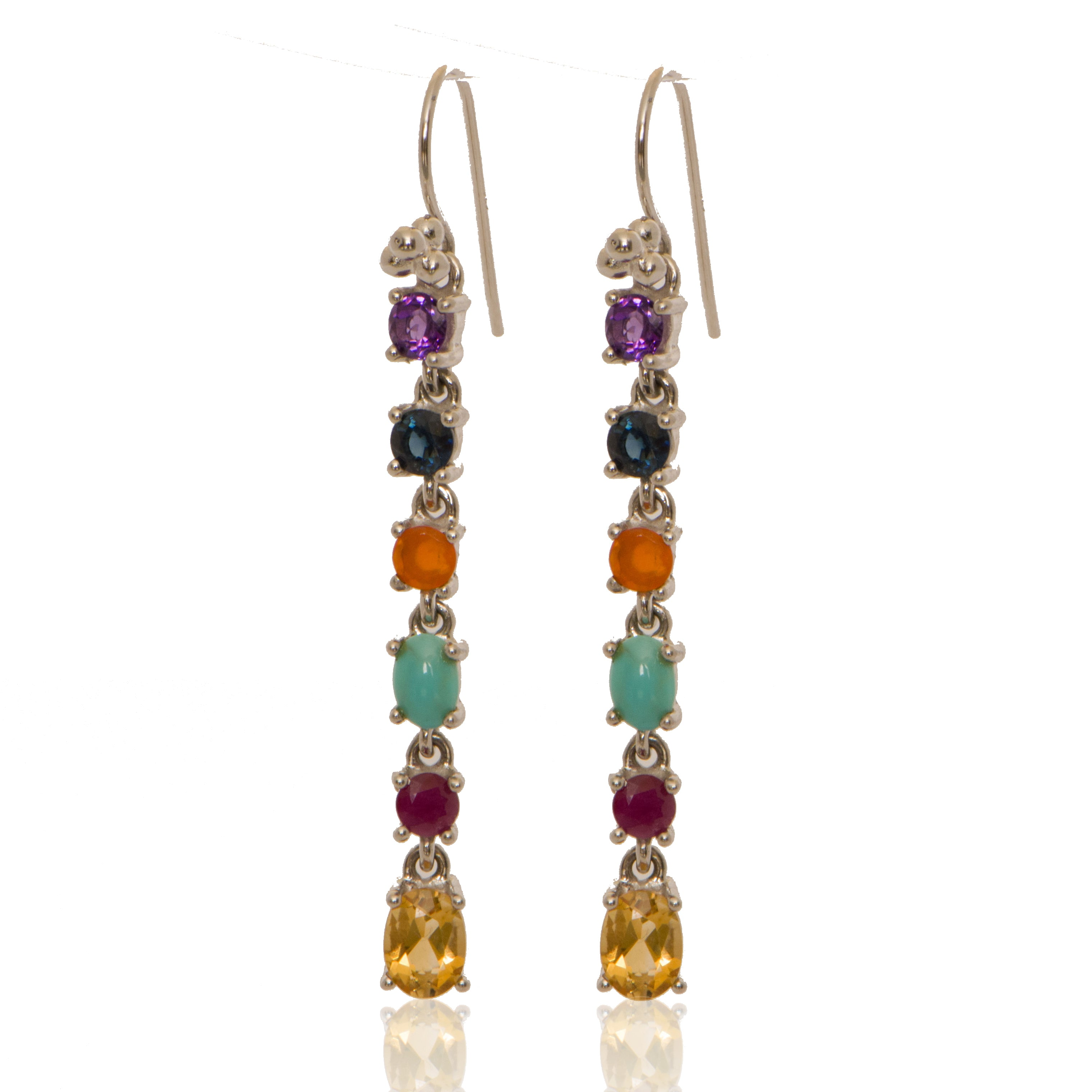 Linear Drops with Amethyst + Sapphire +Fire Opal +Turquoise +Ruby + Citrine