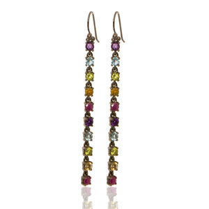 Linear Drops with Amethyst + Blue Topaz + Peridot+ Citrine + Ruby