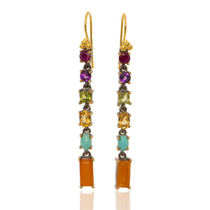 Linear Drops with Ruby + Amethyst + Peridot + Citrine + Turquoise + Cornelian