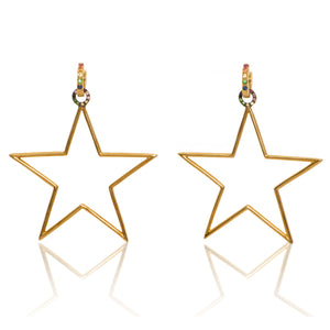 Star Hoops with Rainbow Sapphires