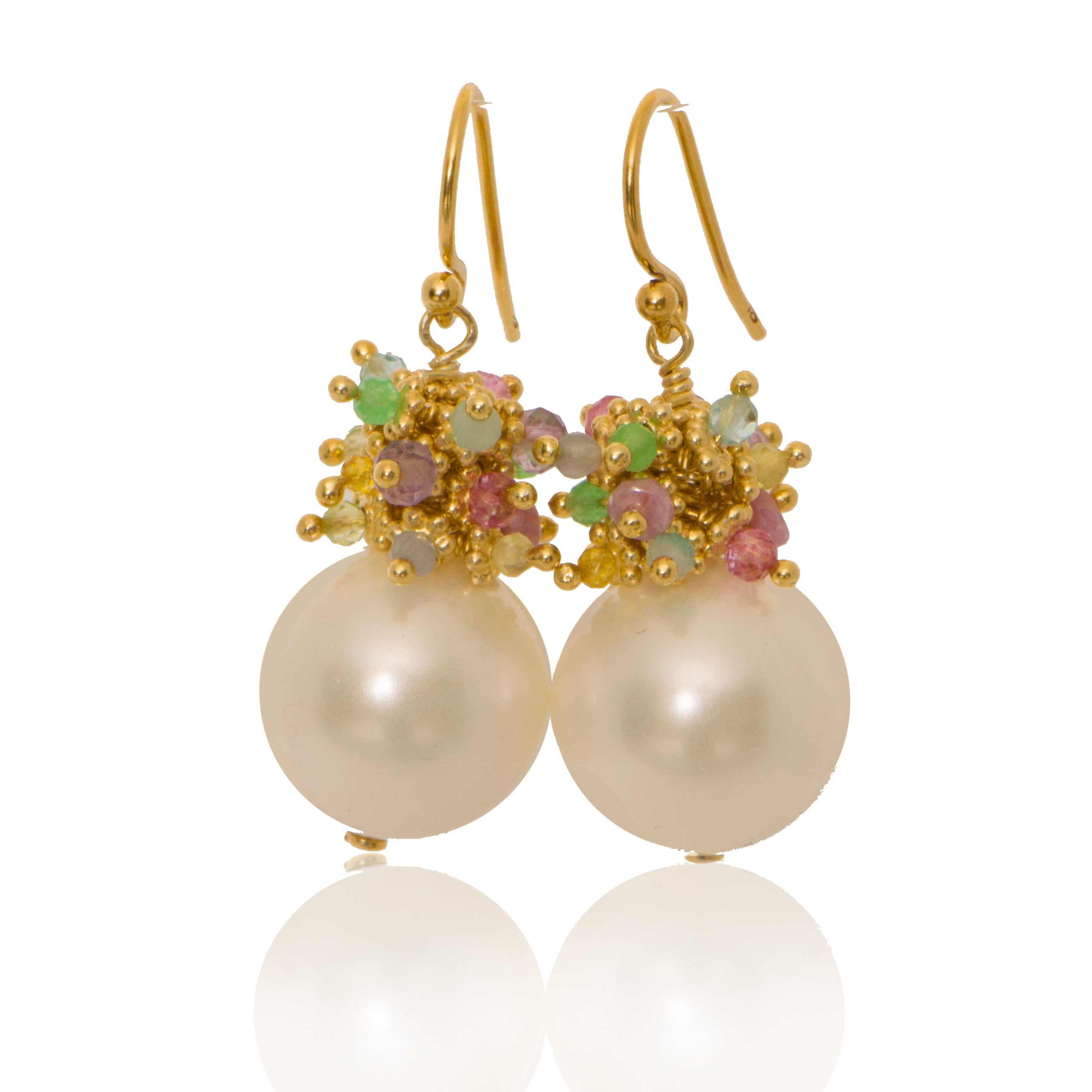Shell Pearl Earrings with a mixed Pastel Top