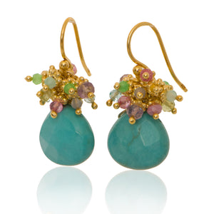 Turquoise Classic Earring with Pastel Top