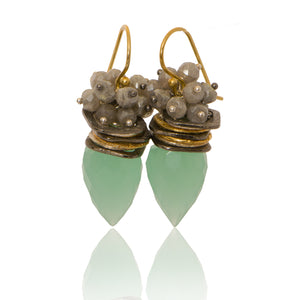 Chalcedony bullet earring with Labradorite Top