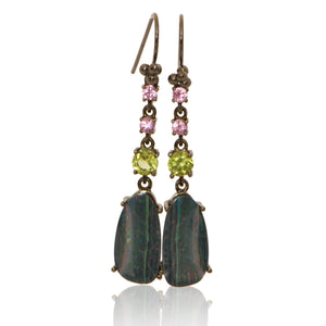 Linear Drops with Pink Sapphire, Peridot and Opal